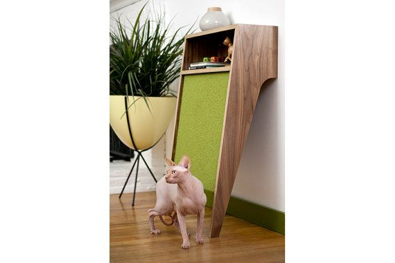 A modern scratching post...  Cat Console /// Mid Century Modern Pet Furniture // Cat Scratcher // Console Table by modernistcat on Etsy.