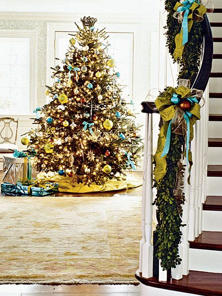 @Gail Morrison...this is your colours mom!!!!  An unexpected color combo for Christmas decor: This Christmas tree in Potomac, Maryland, is a focal point in the spacious hallway by the stairs.