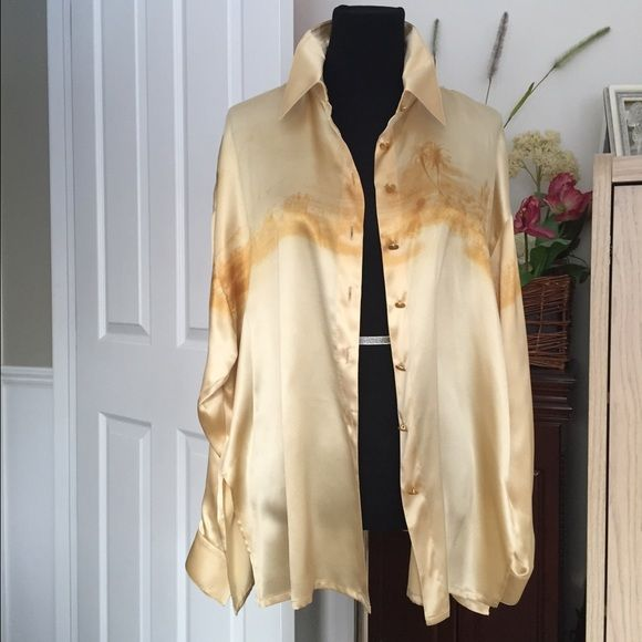 Escada Margaretha Ley 100% silk blouse Designer ..Escada ...Margaretha Ley.. silk blouse pale golden yellow color with a pattern of a faint watercolor of a tropical island across the chest. See photos, Gold buttons, slits on the side for versatile wearing. European size 44, excellent condition, no trade, no pp, smoke and pet free environment Escada Tops Blouses