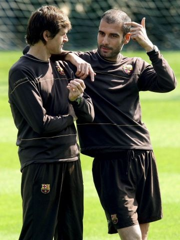 Pep Guardiola and Tito Vilanova