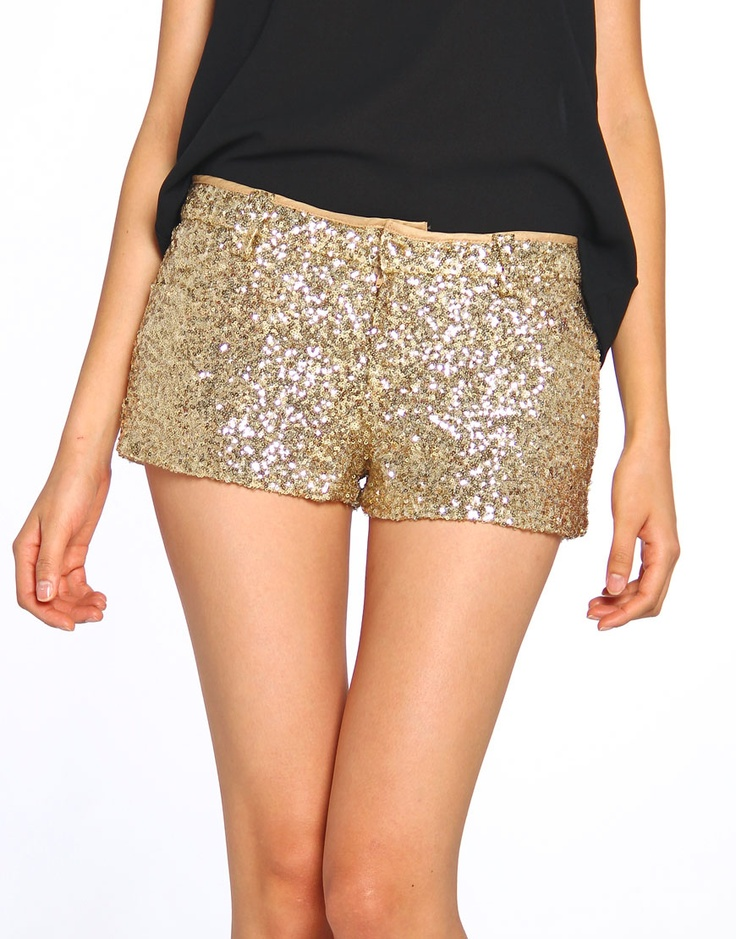 gold sequin shorts - perfect for holiday parties!