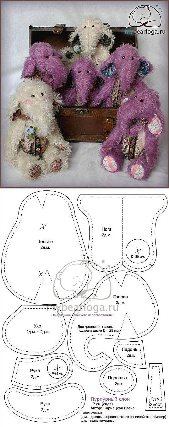 Слоник (выкройка) / Разнообразные игрушки ручной работы / PassionForum - мастер-классы по рукоделию