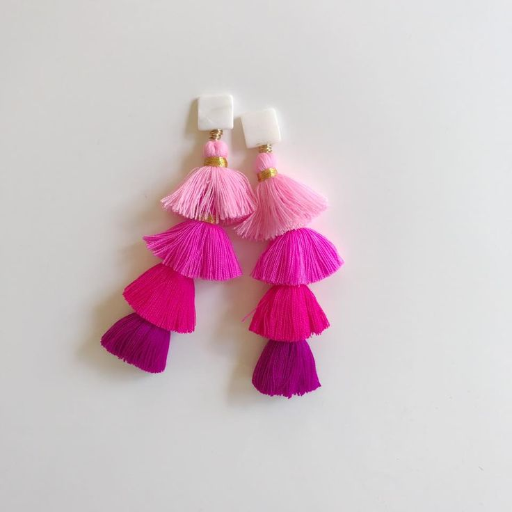 mother of pearl + pink ombre tier tassels