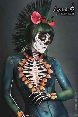 Brilliant skeletal body paint. And mohawk!