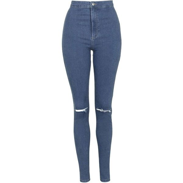 TOPSHOP TALL Blue Joni Jeans (£38) ❤ liked on Polyvore featuring jeans, pants, bottoms, trousers, blue, skinny leg jeans, zipper jeans, denim skinny jeans, tall jeans and topshop jeans
