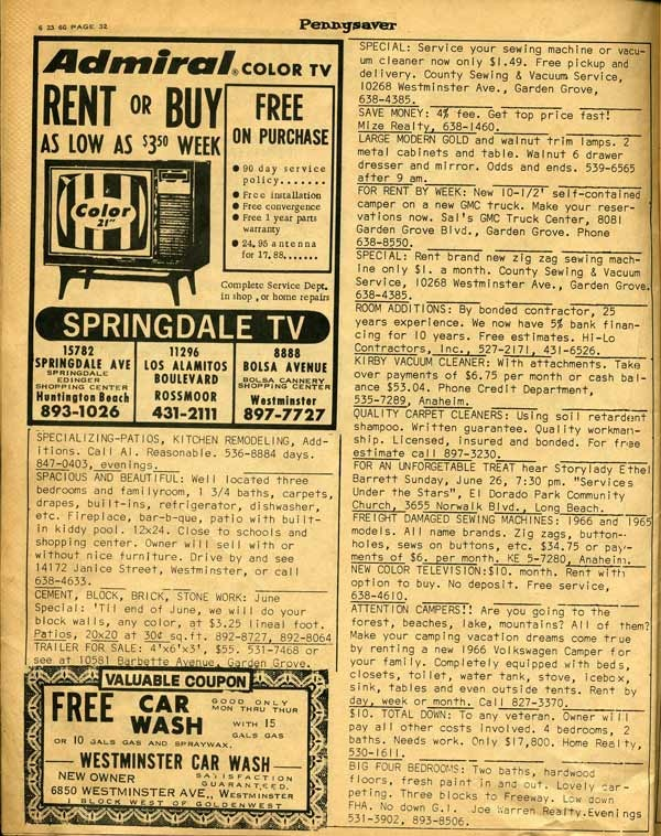 Electronics store ad in the 1966 Pennysaver.