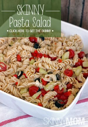 With all of my potluck needs in mind, I came up with a quick and easy Skinny Pasta Salad recipe that could be shared easily.