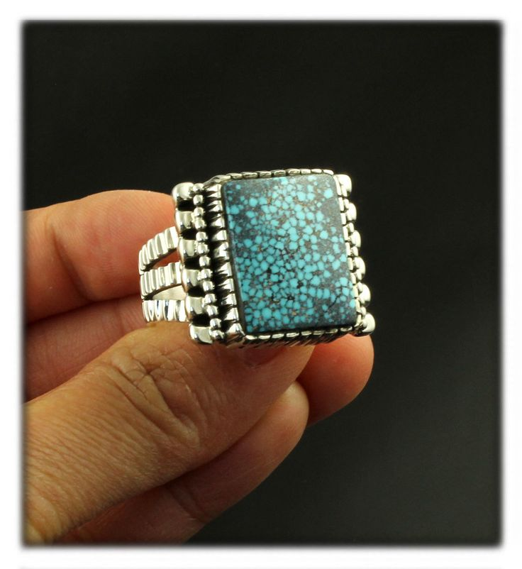 Heirloom Quality Handmade Sterling Silver and High Grade Kingman Turquoise Ring for Men by John Hartman.