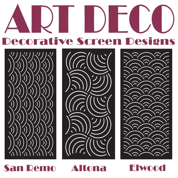 Laser cut Art Deco styled decorative screens designed and manufactured by Australian wholesale screen manufacturer QAQ Decorative Screens & Panels, Melbourne, VIC. Click through to see installations of these designs on our blog.