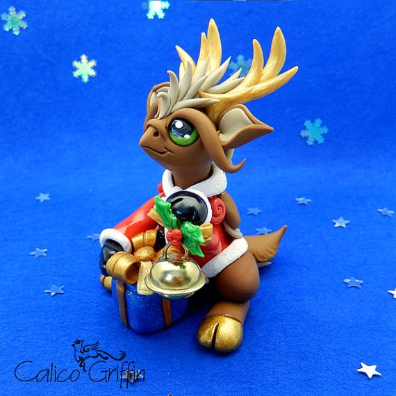 Christmas Reingriff - clay sculpture Premo Sculpey gift xmas figurine griffin santa gryphon clay dragon fantasy polymergriffin art reindeer
