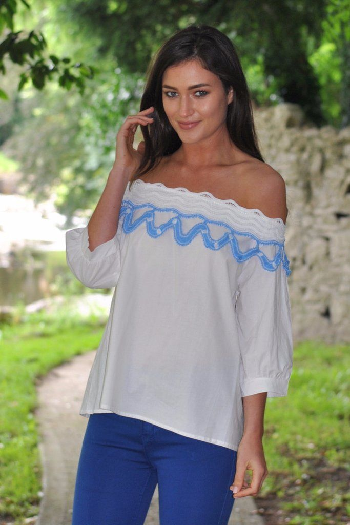 Clara White and Blue Top