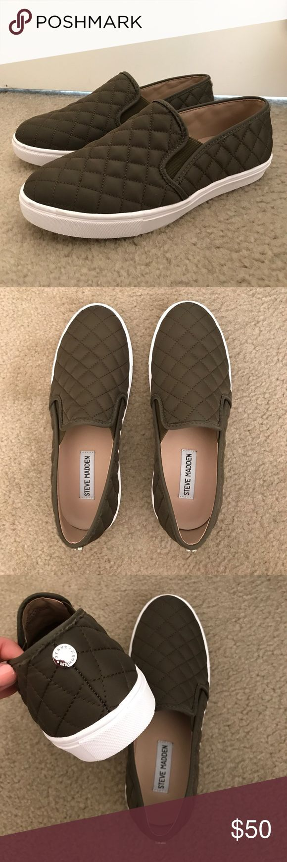 Steve Madden Ecntrcqt Olive Green Selling these super cute quilted slip ons! They have never been worn! Willing to negotiate on price :) Steve Madden Shoes Sneakers