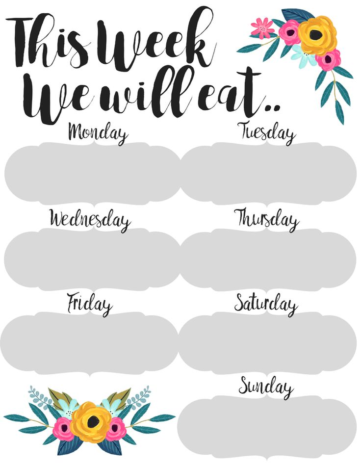 25+ best ideas about Menu happy meal on Pinterest Cute - printable meal planner
