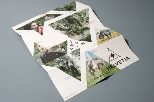 """Graphic design of a leaflet revealing the automn-winter collection """"Helvetia"""" for the fashion label from Lausanne Prism. As well as an invitation card for the vernissage.Client: PrismPhotographies: www.daniela-tonatiuh.ch"""