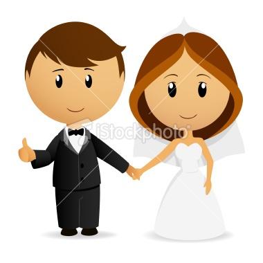 Cute cartoon wedding couple holding hand Royalty Free Stock Vector Art Illustration