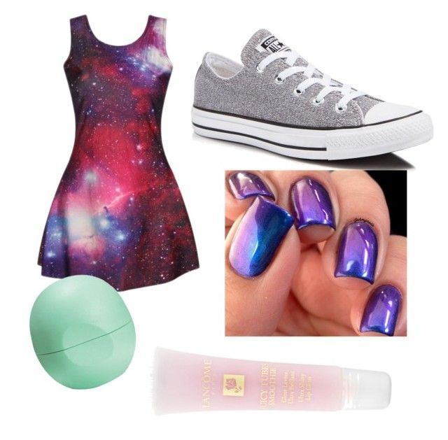 """""""Cute galaxy outfit with gray converses with some Beauty elements"""" by douglastaylor on Polyvore featuring Converse, Eos and Lancôme"""