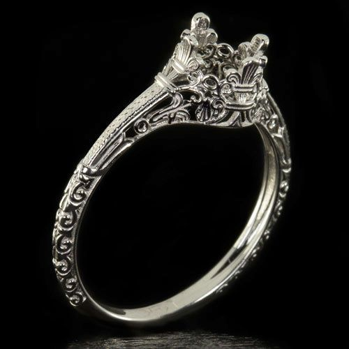Engagement Ring Setting Art Nouveau Filigree Round Cushion Solitaire 14k W Gold In 2018 One Day Wedding Pinterest Rings And Jewelry