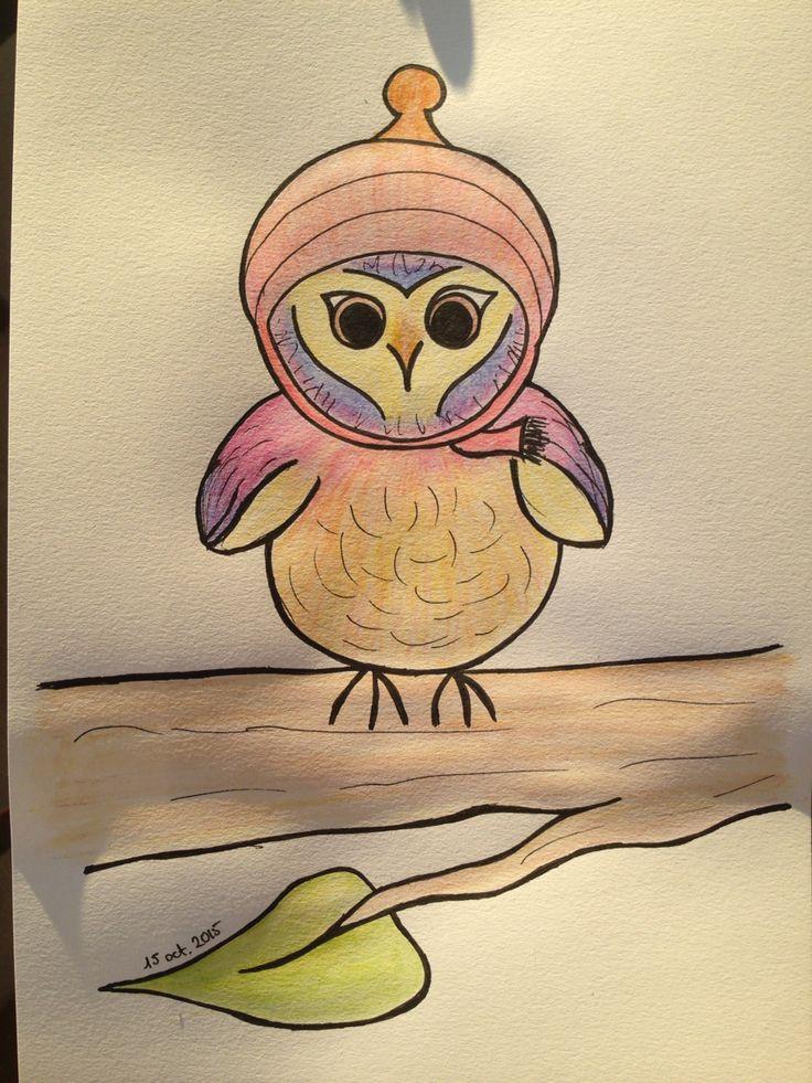 Owl lápiz acuarelable