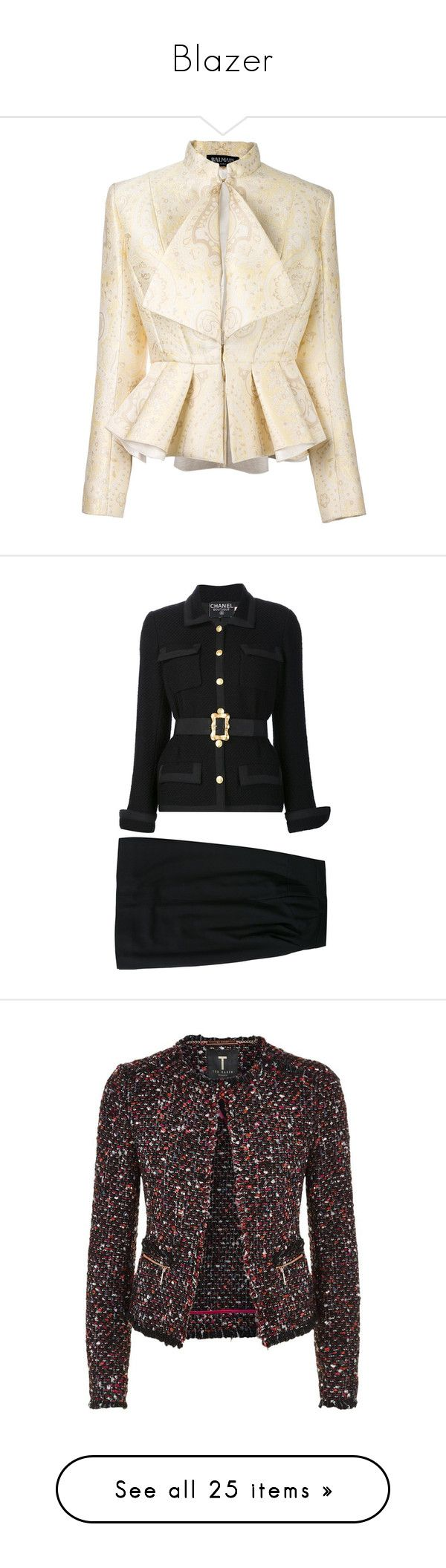 """""""Blazer"""" by tdctje on Polyvore featuring outerwear, jackets, yellow, yellow jacket, cinch jackets, pink jacket, paisley jackets, long sleeve jacket, suits en black"""