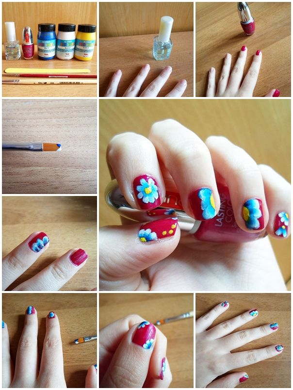262 best nails images on pinterest cute nails nail art and nail how to make spring floral nail art step by step diy tutorial instructions how to solutioingenieria Image collections