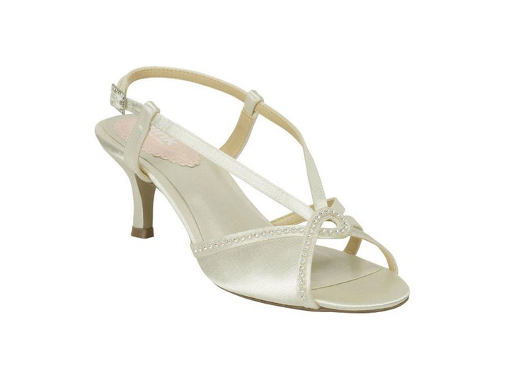 """Misty  2"""" heel. Demure sandal with simple sparkle trim. Dyeable. Ivory satin. Made for the UK and European market. Sizes 36-42."""