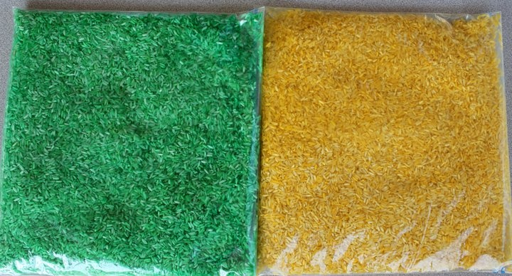 Colored rice/pasta:  Tbs of rubbing alcohol with 20-25 drops of food coloring.  Mix well then add 2 cups rice/pasta.  Lay it out on paper towels and let dry.