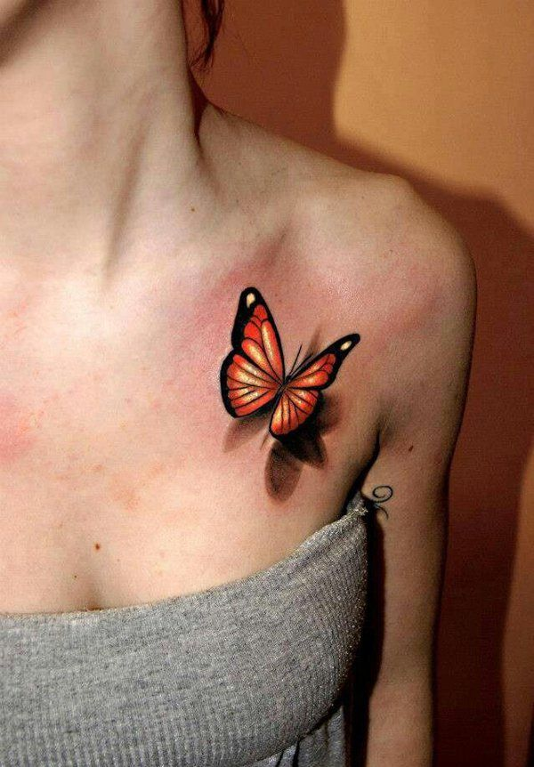 3D butterfly tattoo chest - 60+ Amazing 3D Tattoo Designs | Art and Design