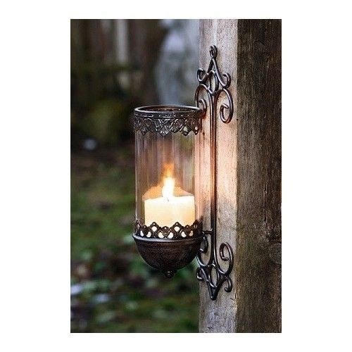 WALL MOUNTED GARDEN PILLAR CANDLE HOLDER VINTAGE METAL WALL LIGHT LANTERN BLACK in Home, Furniture & DIY, Home Decor, Candle & Tea Light Holders | eBay