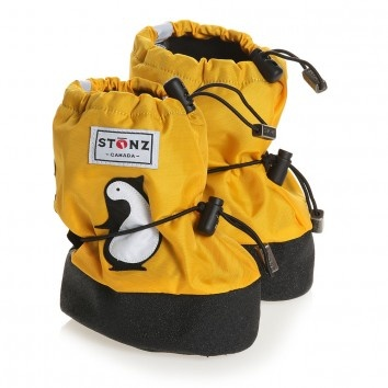 Stonz Yellow Waterproof Snow Bootees with Penguins at Childrensalon.com