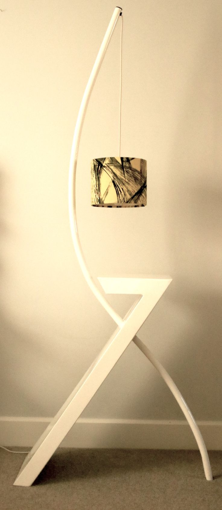 White steel floor lamp side table combined, designed by Jane Handford Design
