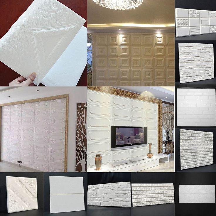 Cream White Series PE Foam 3D Wall Paper DIY Wall Stickers Embossed Brick Stone
