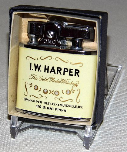 "Vintage I.W. Harper Whiskey Cigarette Lighter by Continental, Made in Japan,  "". . . it's always a pleasure""."