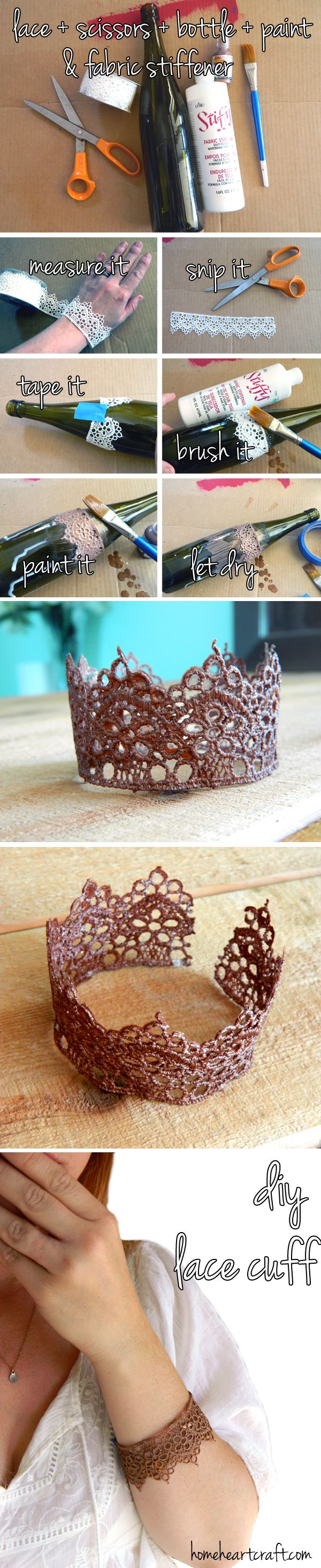 DIY Faux Metal Lace Cuff (I gave the lace a couple of coats of fabric stiffener. Let that set for 15 to 20 minutes then brush on a metallic paint. Wipe off any excess paint so that the lace pattern is clear. Set to dry for a couple of hours and then gently remove from the bottle. If the bracelet is still to flexible give it another coat with the fabric stiffener.)