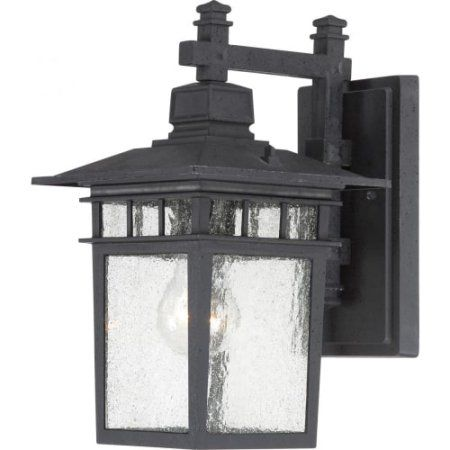 Satco Cove Neck Textured Black Transitional Outdoor w/ 1 Light 100W