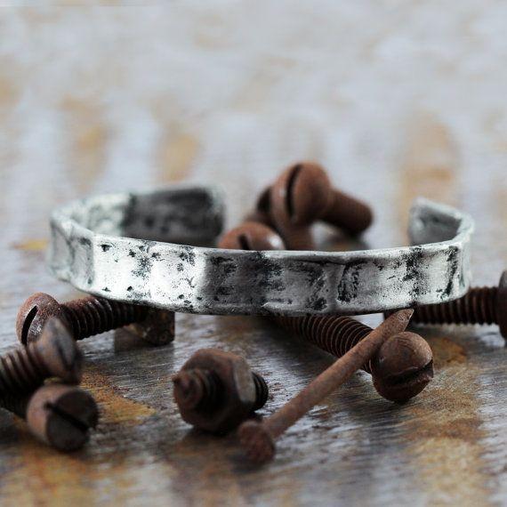 Mens Cuff Bracelet Silver Bent Bangle Cool by carpediemjewellery