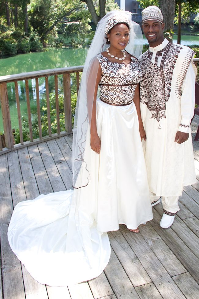 "This couple''s attire is named MALIKA (for the bride) and MALIK (for the groom). MALIKA is a female name meaning ""African Angel"" in Swahali and MALIK means ""King"" in Swahili."