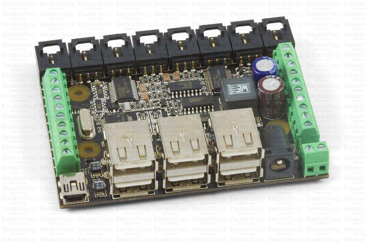 1019_1 - PhidgetInterfaceKit 8/8/8 w/6 Port Hub, A 1018 with an on-board powered 6-port full-speed (12Mbit/s) USB hub.