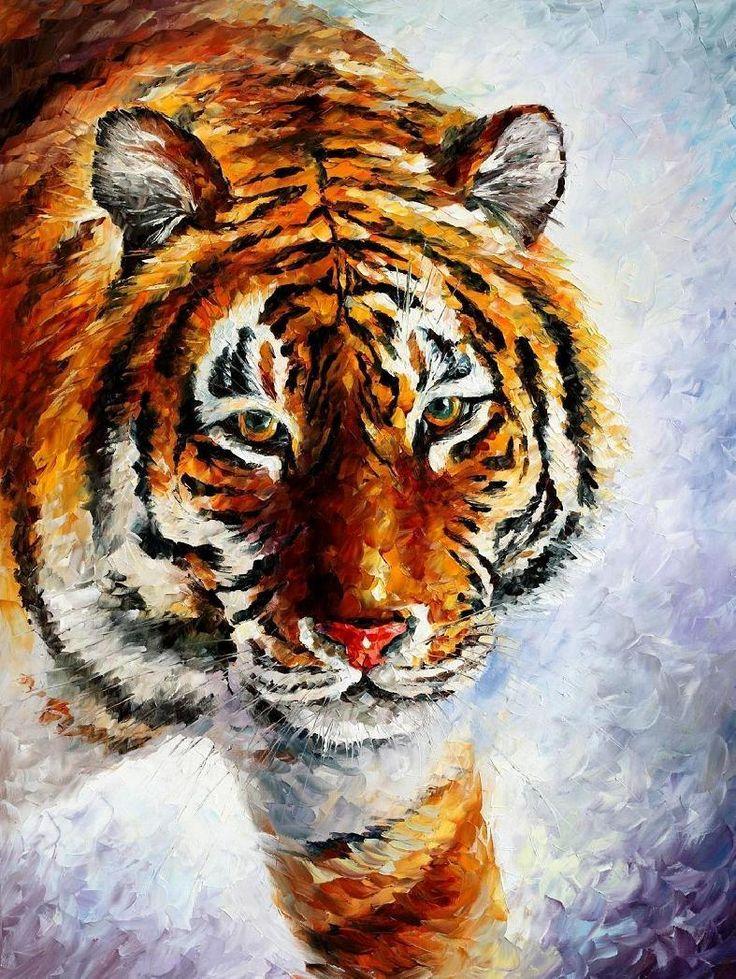 TIGER ON THE SNOW - PALETTE KNIFE Oil Painting On Canvas By Leonid Afremov - http://afremov.com/TIGER-ON-THE-SNOW-PALETTE-KNIFE-Oil-Painting-On-Canvas-By-Leonid-Afremov-Size-30-X40.html?utm_source=s-pinterest&utm_medium=/afremov_usa&utm_campaign=ADD-YOUR