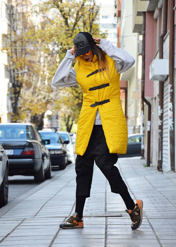 Extravagant High Collar Vest Sleeveless Long Yellow Vest