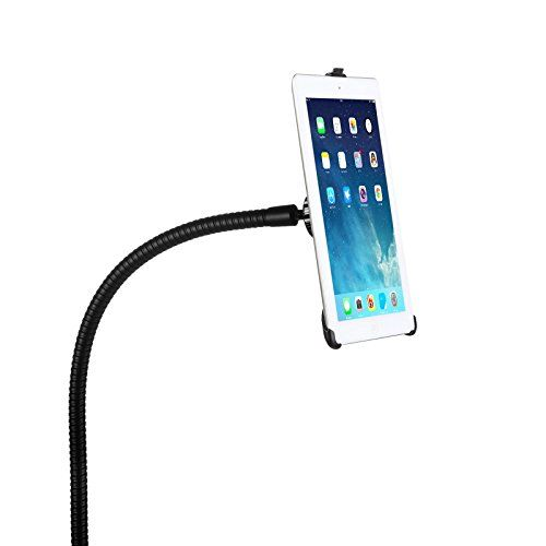BESTEK® Full-motion Rotatable Desktop/Bed Clamp Steel Mount Holder with 360 Degree Easy Adjustable Gooseneck Arm Support Stand for Apple iPad Air,iPad Mini,iPad 2,the New iPad(3rd Gen),iPad with Retina Display(4th Gen),Hands-Free Viewing,Couch / Bed Side / Kitchen / Office Table Stand + FREE Protective Back Skin for iPad 2/3/4(Holder Requires No Cases on the iPad)