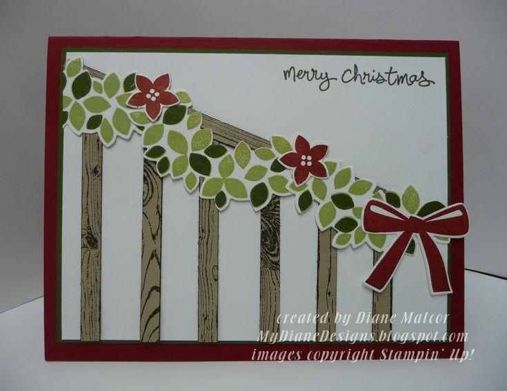 Wondrous Garland - http://mydianedesigns.blogspot.com/ Stampin' Up!, Wondrous Wreath, Good Greetings, Hardwood