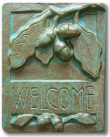 Welcome Tile Oak - Arts & Crafts style ceramic plaque - oak leaf & acorn design - other glaze colors available