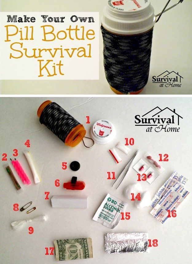 DIY Uses of Pill Bottles for Storage | Pill Bottle Survival Kit by DIY Ready at http://diyready.com/15-awesome-diy-uses-for-pill-bottles/
