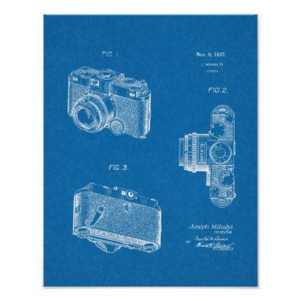 1937 Old Camera Patent Art Blueprint Drawing Poster - antique gifts stylish cool diy custom
