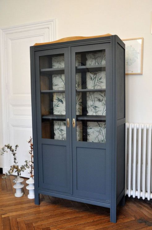 Armoire Parisienne Vitree Gris Bleu Furnituredesign Furniture