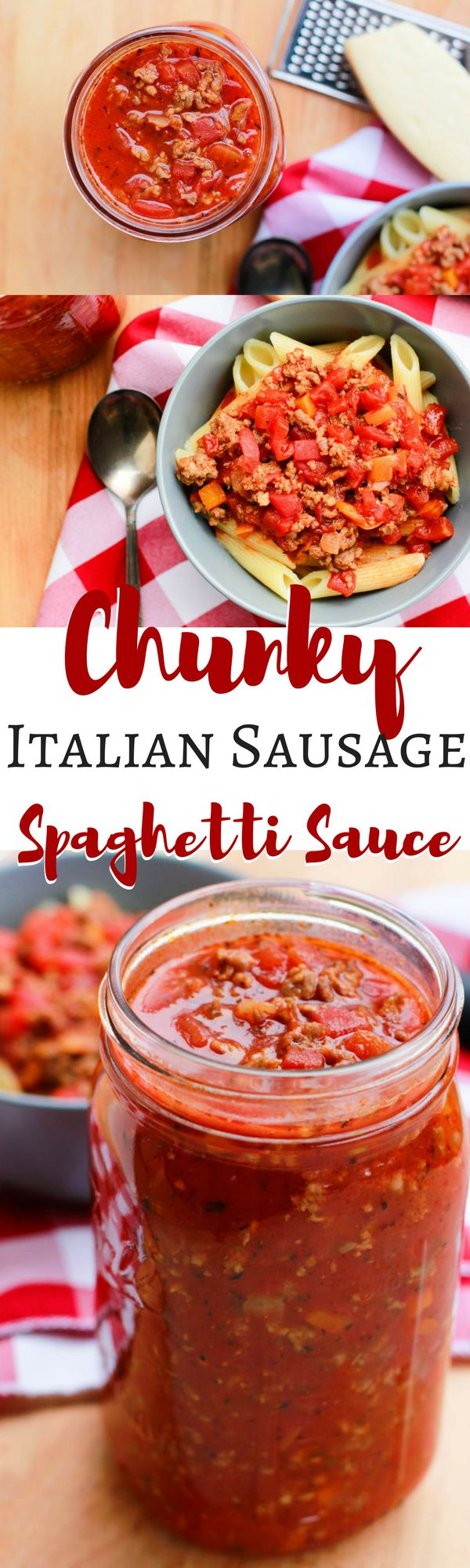 Surprise your family next spaghetti night with this delightfully delicious Chunky Italian Sausage Spaghetti Sauce.