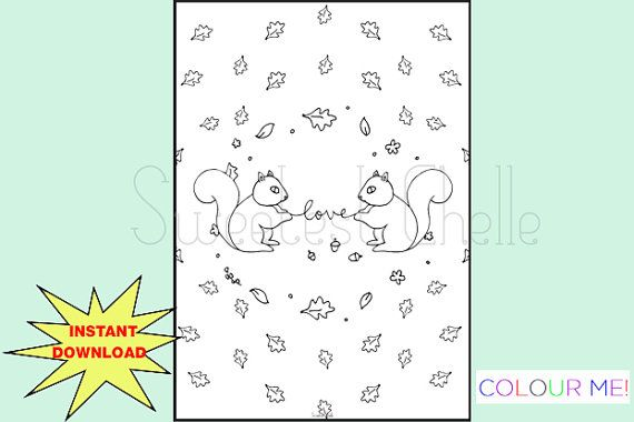 Cute Printable A5 COLORING Page  Squirrel Love Dashboard