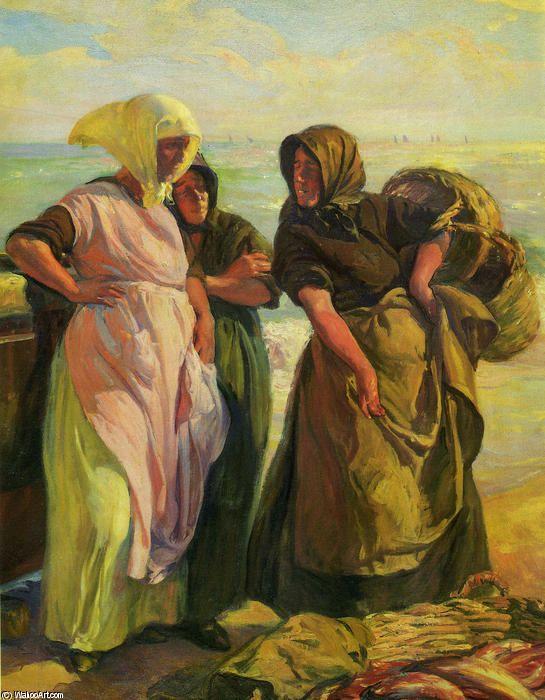 Pescadoras (also known as Comprando la pesca), by José Mongrell Torrent (1870-1937, Spain)
