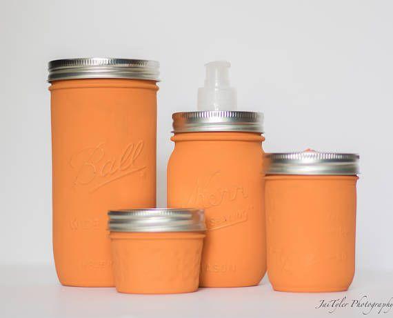 Mason Jar Bathroom Set Set of 4 Burnt Orange Mason Jar Set
