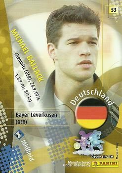 2002 Panini World Cup #53 Michael Ballack Back